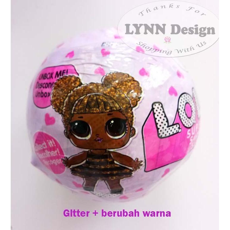 lol series pink glitter berubah warna 7 layer 10 cm_lynn design