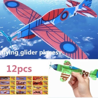 MagicWorldMall Novelty Funny Toys 12Pcs DIY Hand Throw Glider Aircraft Model Child Outdoor Game Toys Foam Airplane - intl