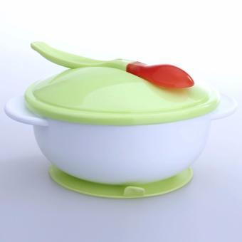 Mangkok Bayi Tempel Anti Slip Suction Bowl Dengan Sendok Temperature Sensing