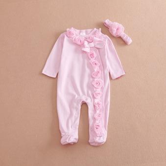 Baru Lahir Bayi Perempuan Anak Pakaian Lengan Panjang Rompers Playsuit 2 Pcs Pakaian + Headband