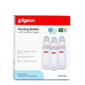 Pigeon Triple Pack KP PP 240 ML with Peristaltic Nipple Size M - Color May Vary