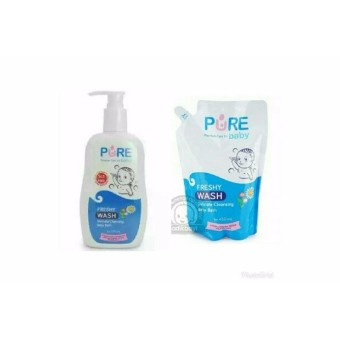 Pure Baby Paket Hemat Wash Freshy 230ml dan refill 450ml