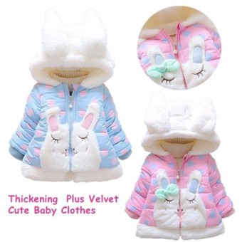 Rainbow Site Hot Sale Baby Girls Thickening Plus Velvet Hooded Coats Winter Warm Clothes Cute Rabbit