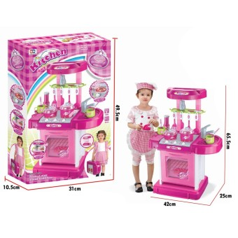 RKJ Mainan Anak Masak Masakan Kitchen Set Koper 2 IN 1 - Warna Pink