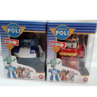 Robocar Poli Mainan Anak Robot Police Car - Blue & Red