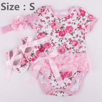 Rose Flower Newborn Baby Girls Romper Tutu Dress Jumpsuit Outfits Clothes - intl