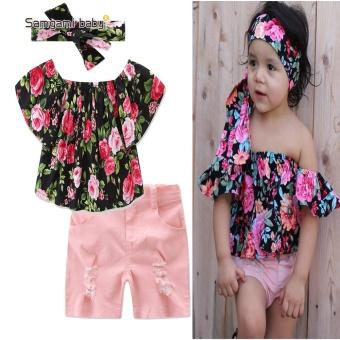 SAMGAMI BABY New 2017 Merek Kualitas Katun Girls T-shirt Strapless Pakaian Set Lengan Pendek