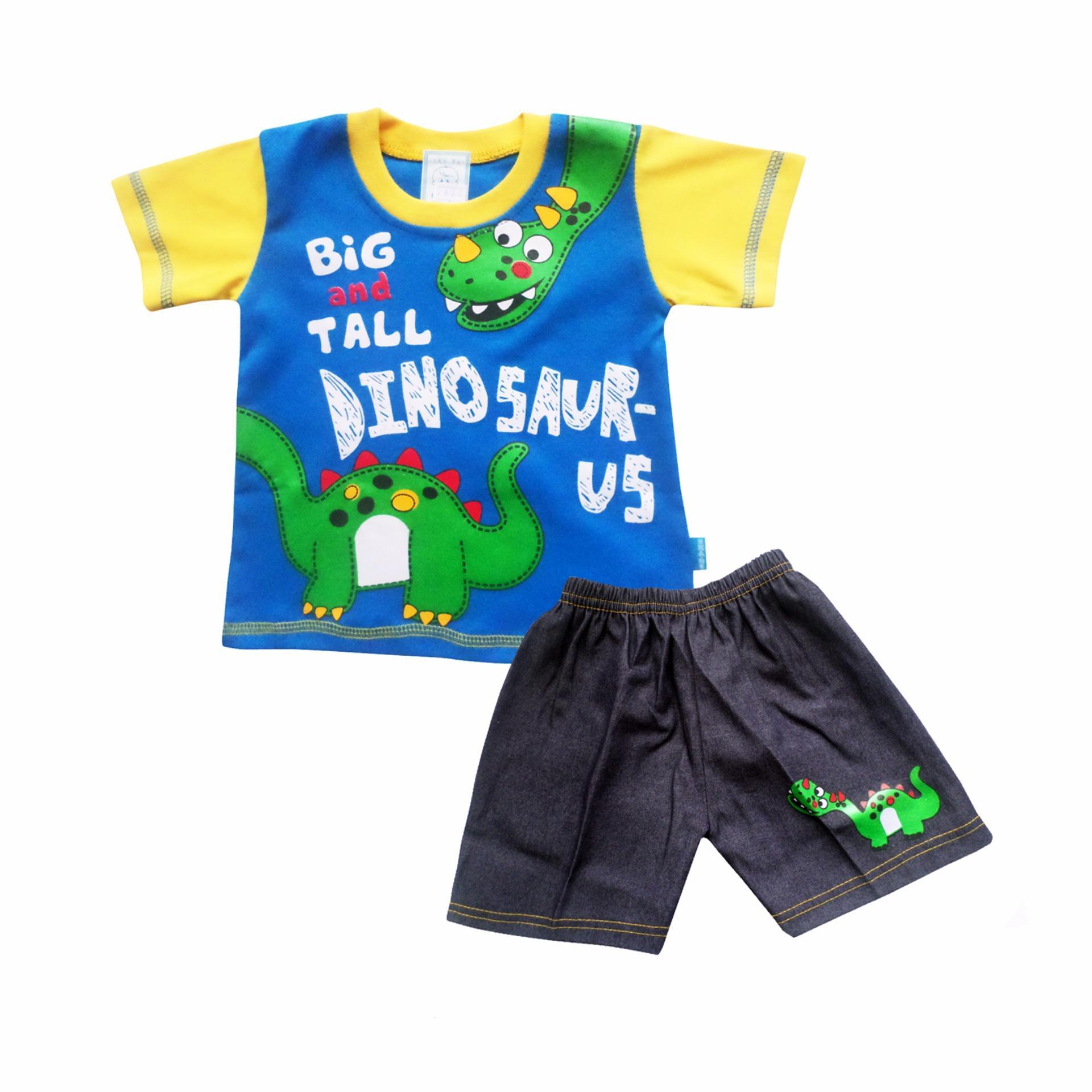 Hot Deals SKABe Baby W/Tua Tangan Pendek Stelan Jeans 2420 - Biru terbaik murah