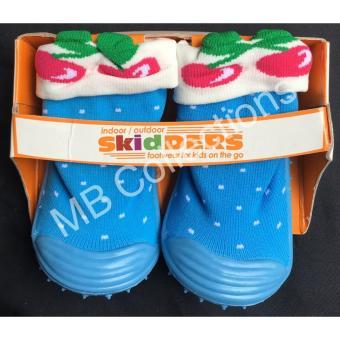Skidder Sepatu Bayi / Sepatu Karet Bayi / Skidder Sepatu Motif 3D Cherry Biru Uk 21