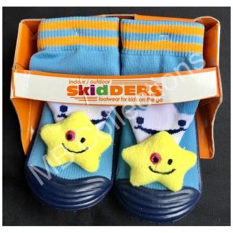 Skidder Sepatu Bayi / Sepatu Karet Bayi / Skidder Sepatu Motif Boneka Bintang Biru Navy Uk