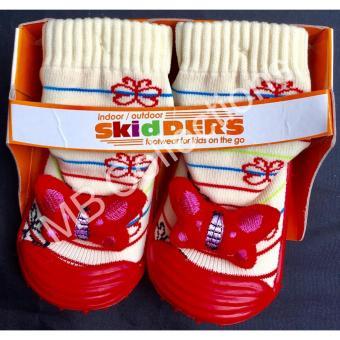Skidder Sepatu Bayi / Sepatu Karet Bayi / Skidder Sepatu Motif Boneka Kupu - Kupu Uk