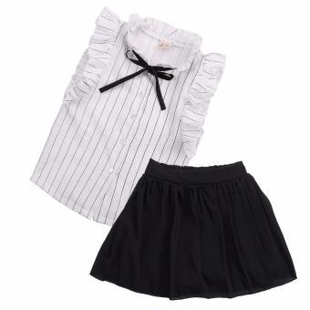 Tanpa Lengan Bayi Gadis Musim Panas Pakaian Anak Pesta Gaun Blus Tops + Rok Pakaian-