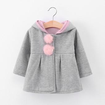 SS Bayi Perempuan Hangat Bertudung Mantel Jaket Anak Balita Pakaian Mewah Lucu Rabbit Telinga Hoodie Warna