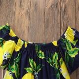 ... Musim Panas Modis Anak Pakaian Bayi Gadis Pakaian Lemon Cetak Atasan + Putih Celana Pendek 2 ...