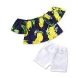 Gambar Produk Rinci Musim Panas Modis Anak Pakaian Bayi Gadis Pakaian Lemon Cetak Atasan + Putih Celana Pendek 2 Pcs Anak-anak Setelan Kasual Olahraga ...