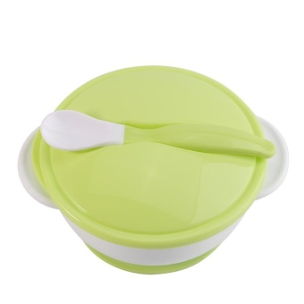 Toddler Suction Cup Bowl With Spoon Baby Food Feeding Tableware(#1 White Spoon+Green Bowl) - intl