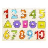 Detail Gambar TSH Mainan Edukasi Puzzle Jigsaw Kayu Knob Angka Shape 1 Buah A101 - Multi