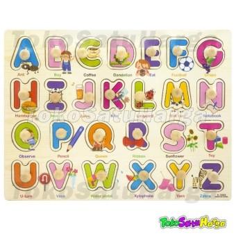 TSH Mainan Edukasi Puzzle Kayu Knob Huruf Alphabet dan Gambar Jigsaw Wooden ...