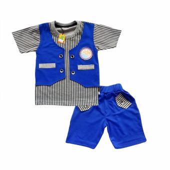 Waka Kids Baju Anak Bayi Oblong Tangan Pendek Stelan Kaos Cln Pendek 2083 - Biru