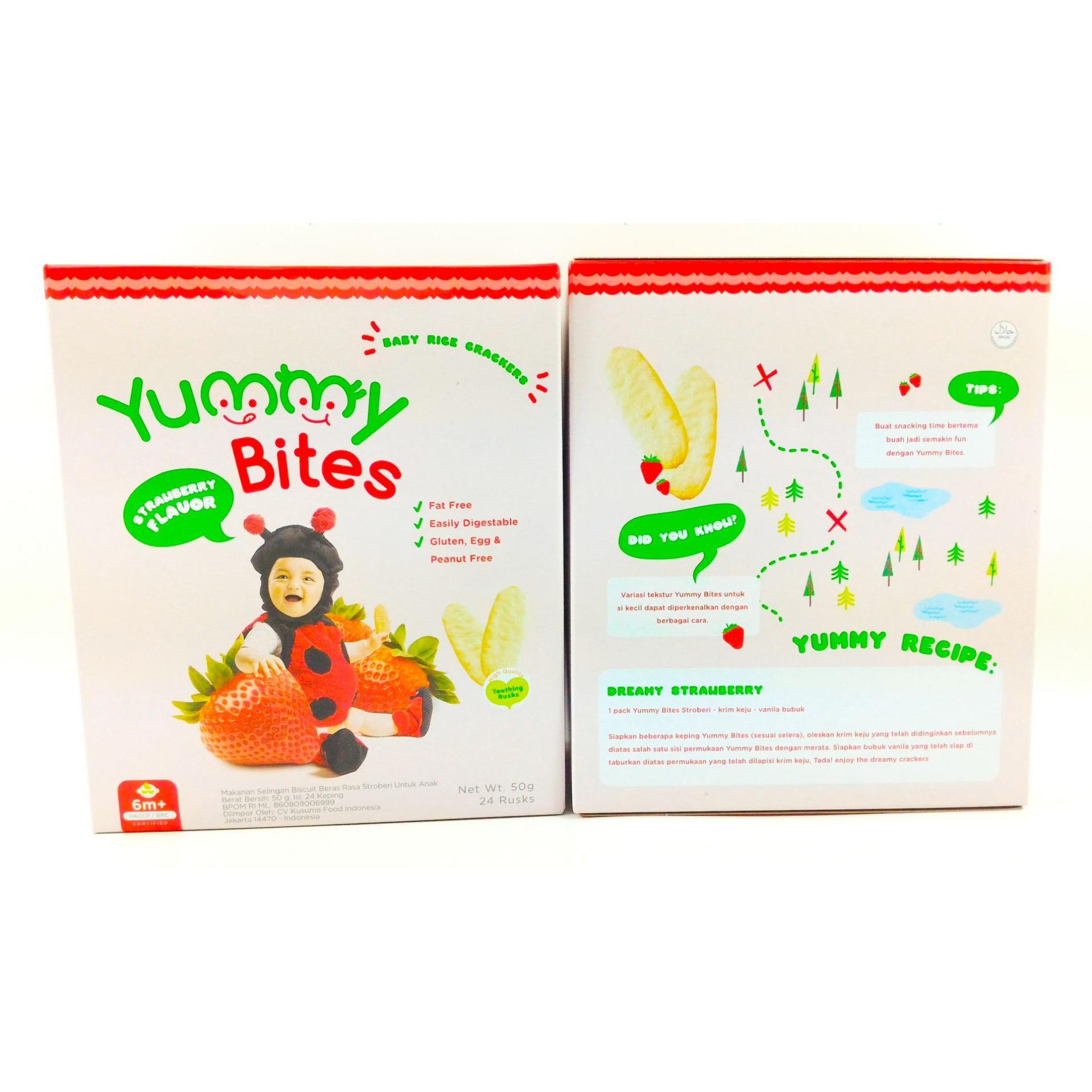 Yummy Bites Baby Rice Cracker 50 Gram Strawberry Daftar Harga 123 50gr Biskuit Bayi Snack Crackers Makanan Shock Price Gr Flavour