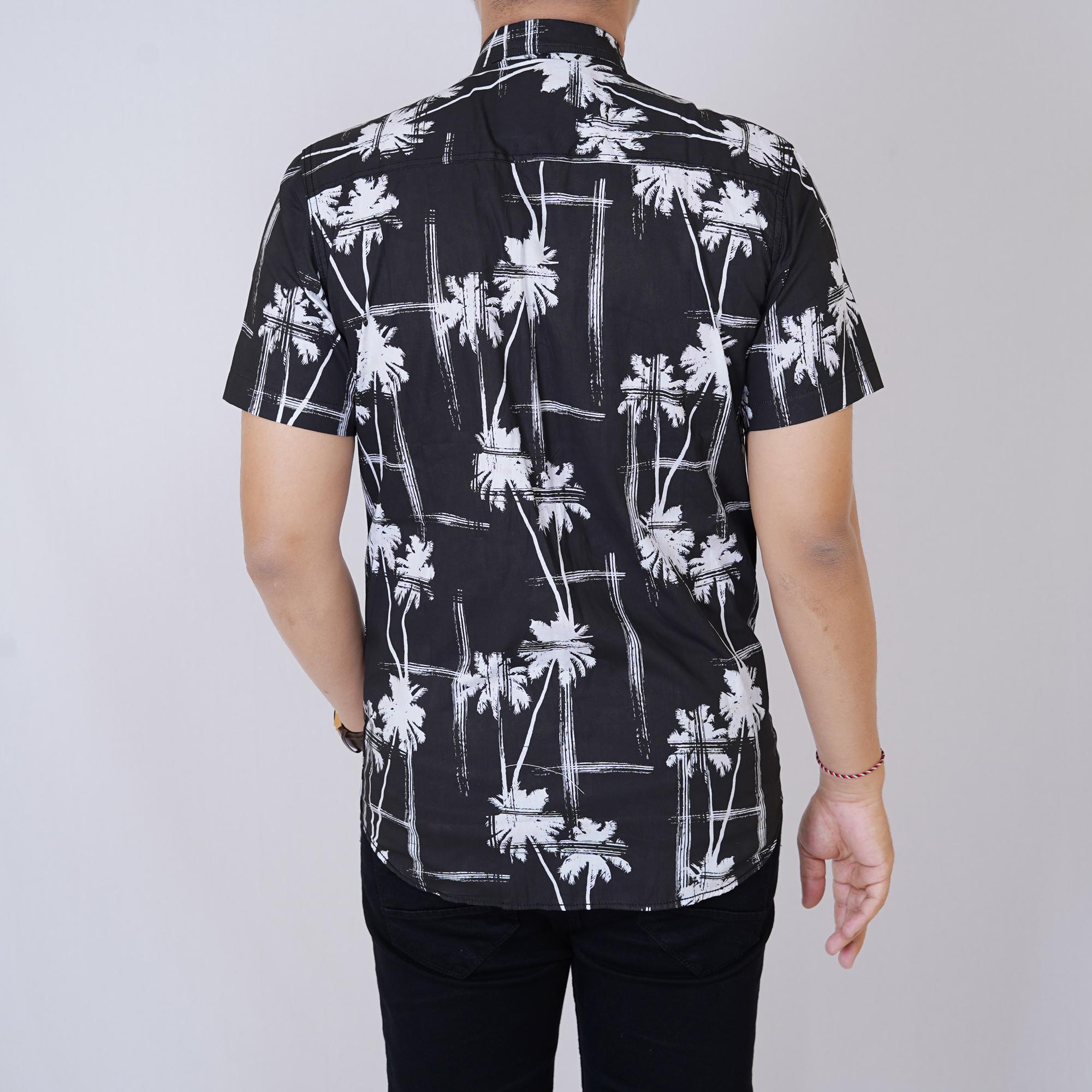 Detail Gambar zs_fashion 6377 Kemeja Printing Pria Lengan Pendek Exclusive Baju Kemeja Print Cowok Kerja Kantoran Kemeja Distro Hitam Motif Kelapa Terbaru