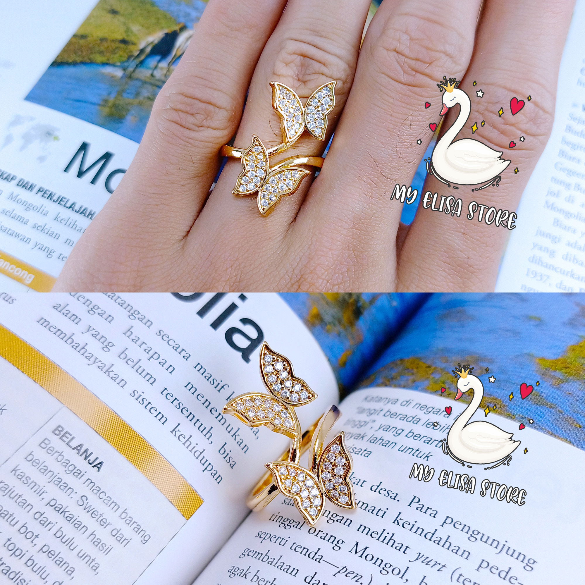 my elisa cincin xuping gold lapis emas women ring butterfly 55