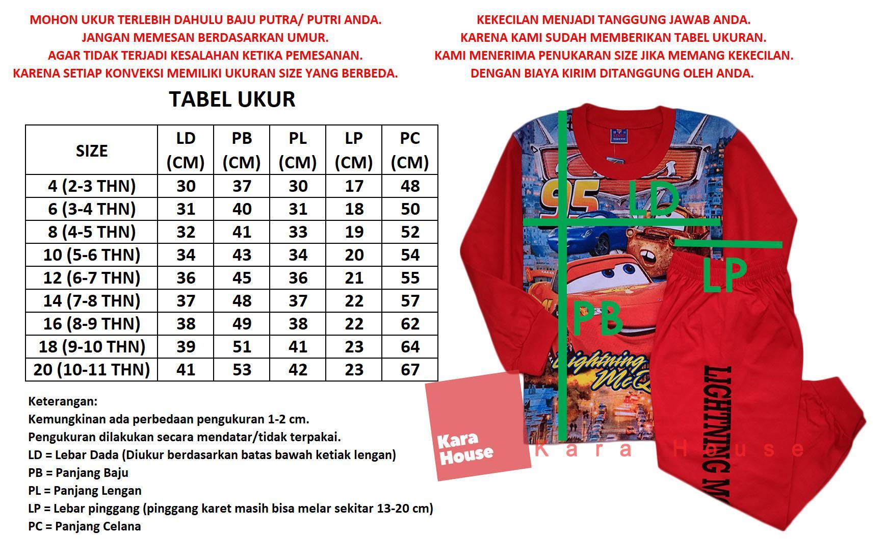 Detail Gambar Setelan Panjang Baju Tidur Piyama Anak Laki Cars CPHB032318 Terbaru