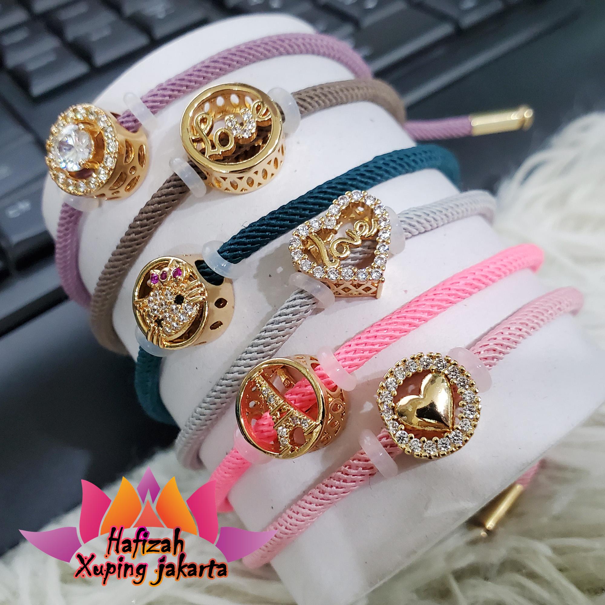 gelang tali pandora 24k motif lucu bisa cod perhiasan cowok cewek guys