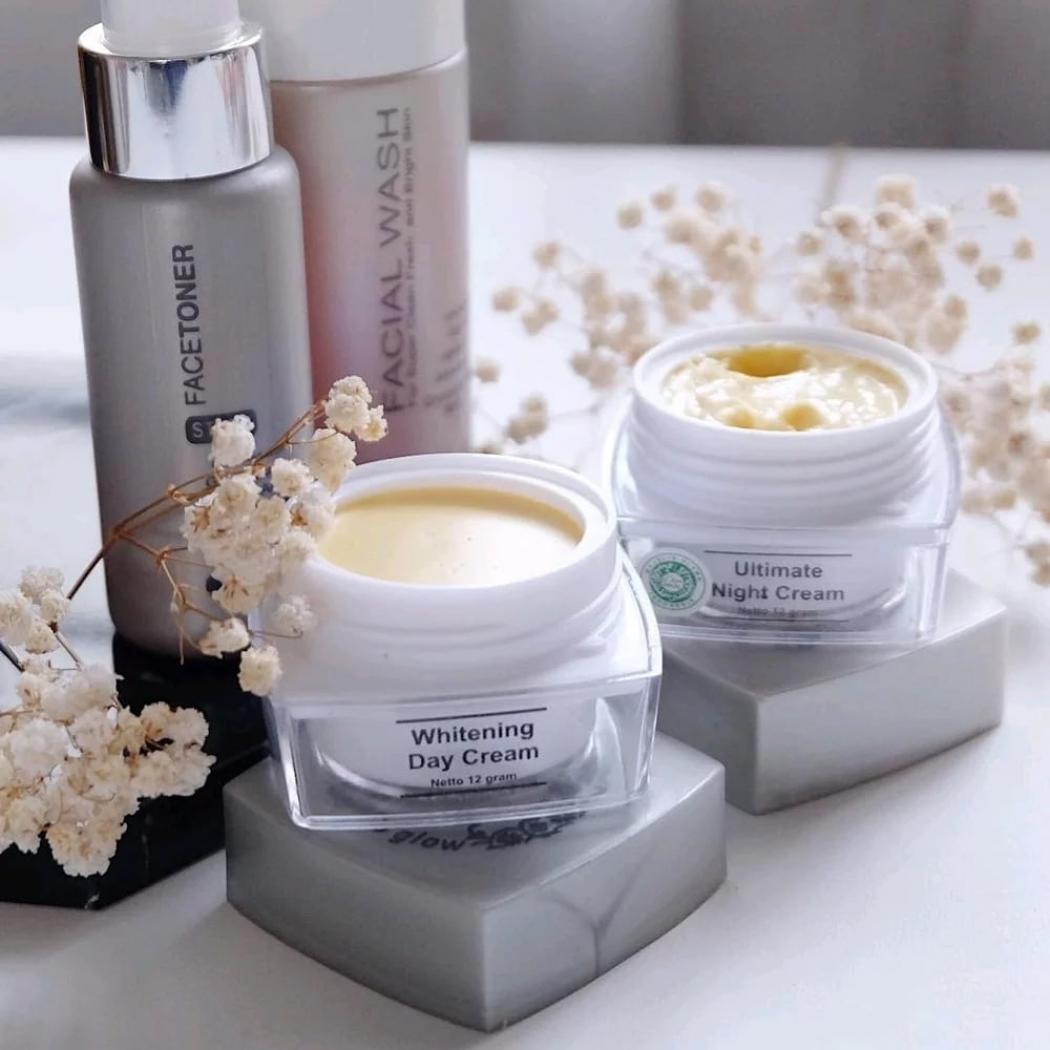 ... Paket MS Glow Whitening BPOM Original Kulit Normal Pencerah Perawatan Wajah Day Night Cream Krim Siang ...
