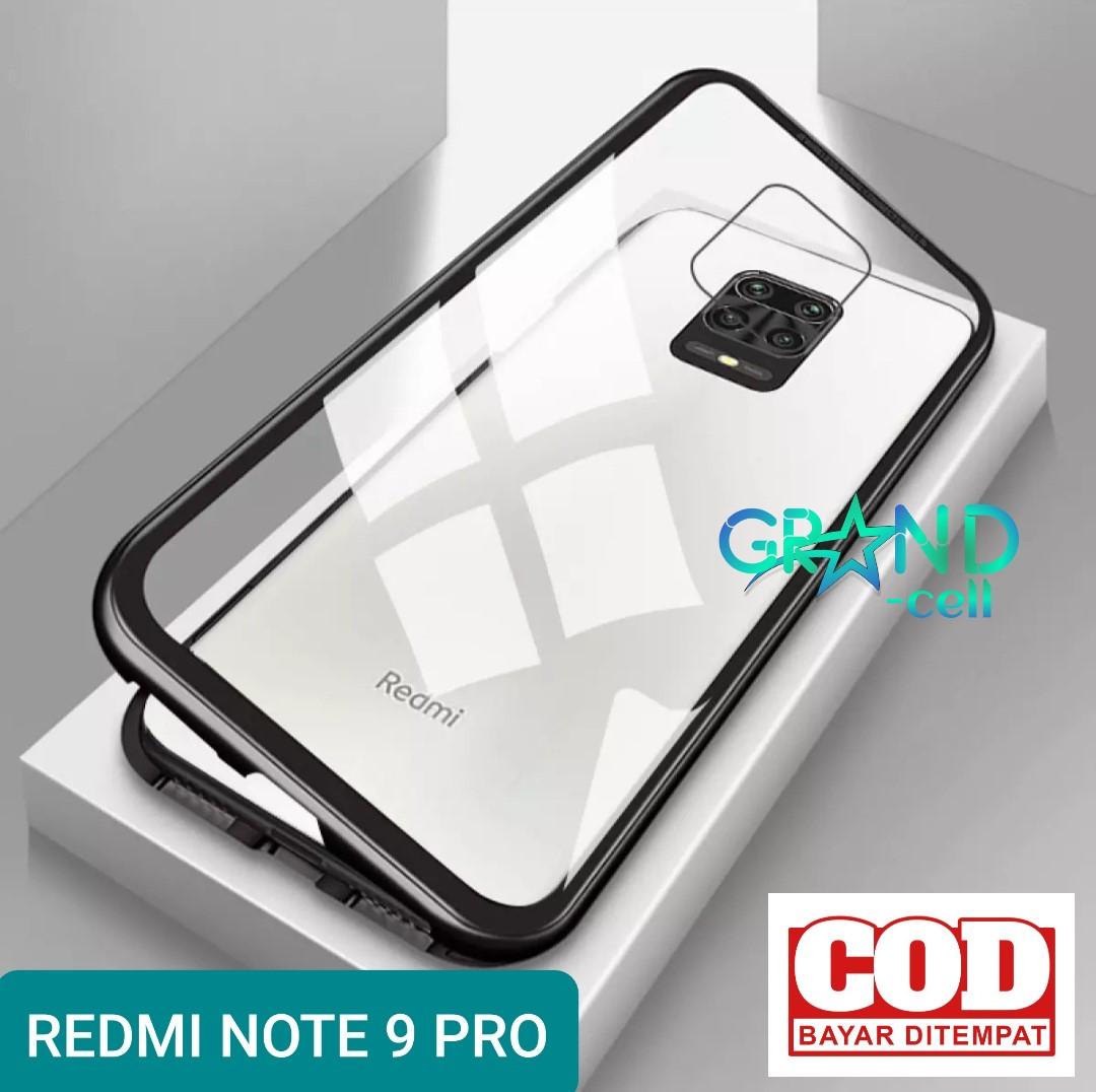 magnetik case hp xiaomi redmi note 9 pro 2020 casing bumper metal glass cover