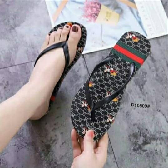 afs-sandal jepit motif gucci/mickey mouse sandal wanita dewasa  import