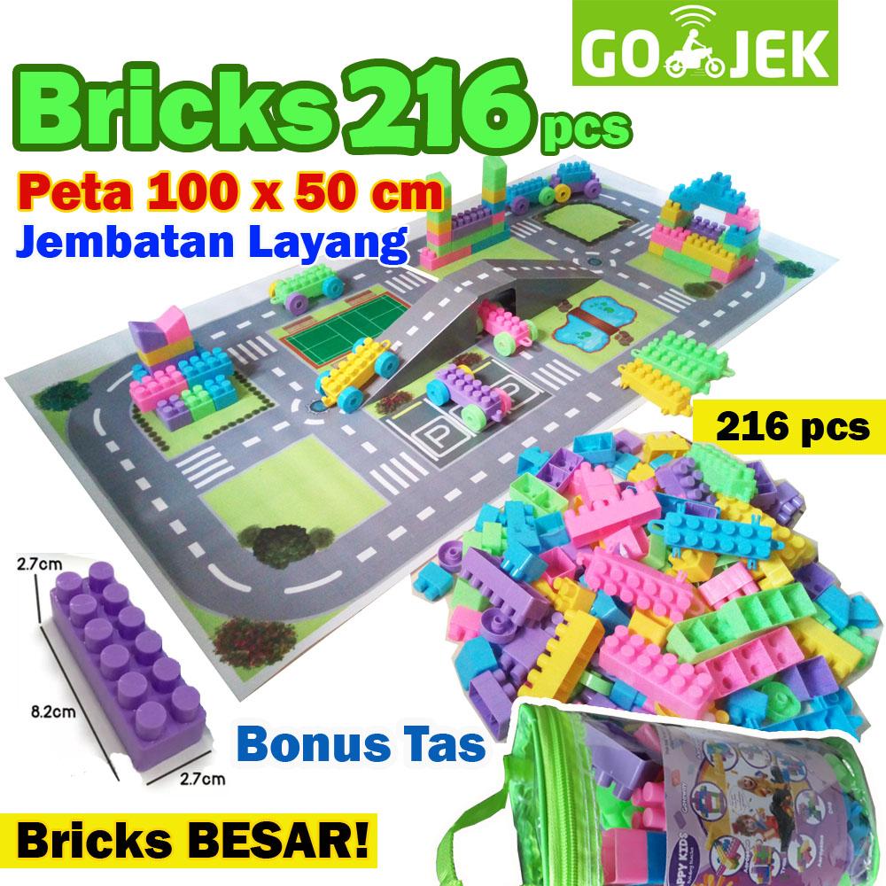 mainan edukasi blocks lego bricks + jalanan lego (maps) 216 pcs – balok susun