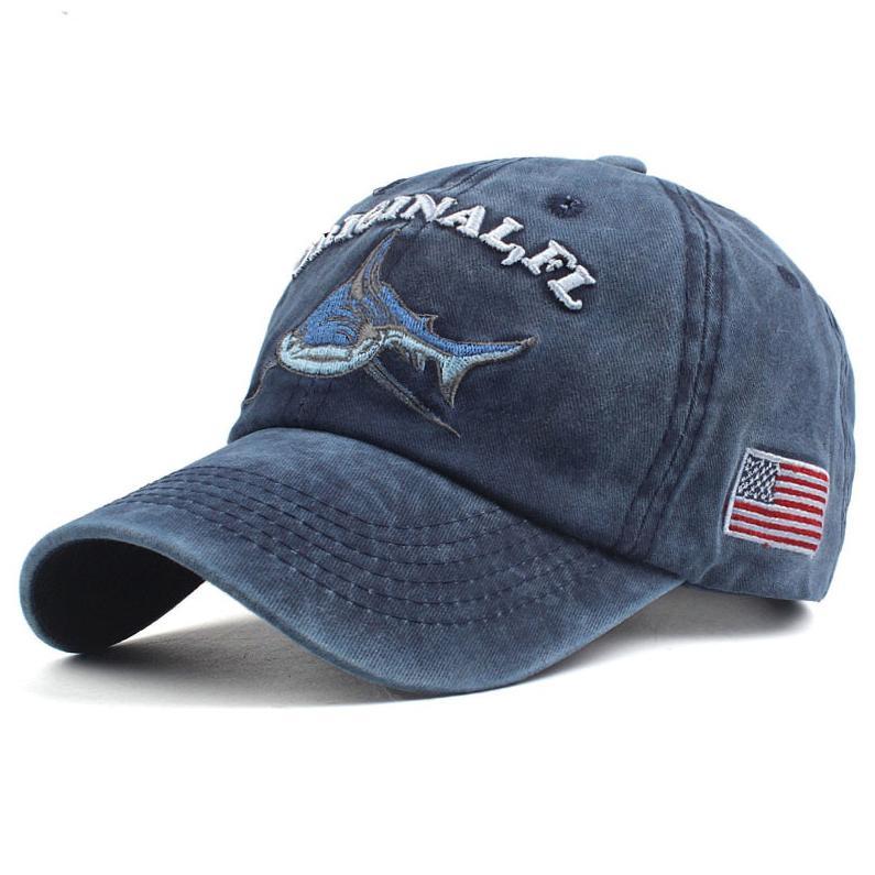 Topi Baseball Cap Snapback Model Shark Original FL - P1 - Navy Blue