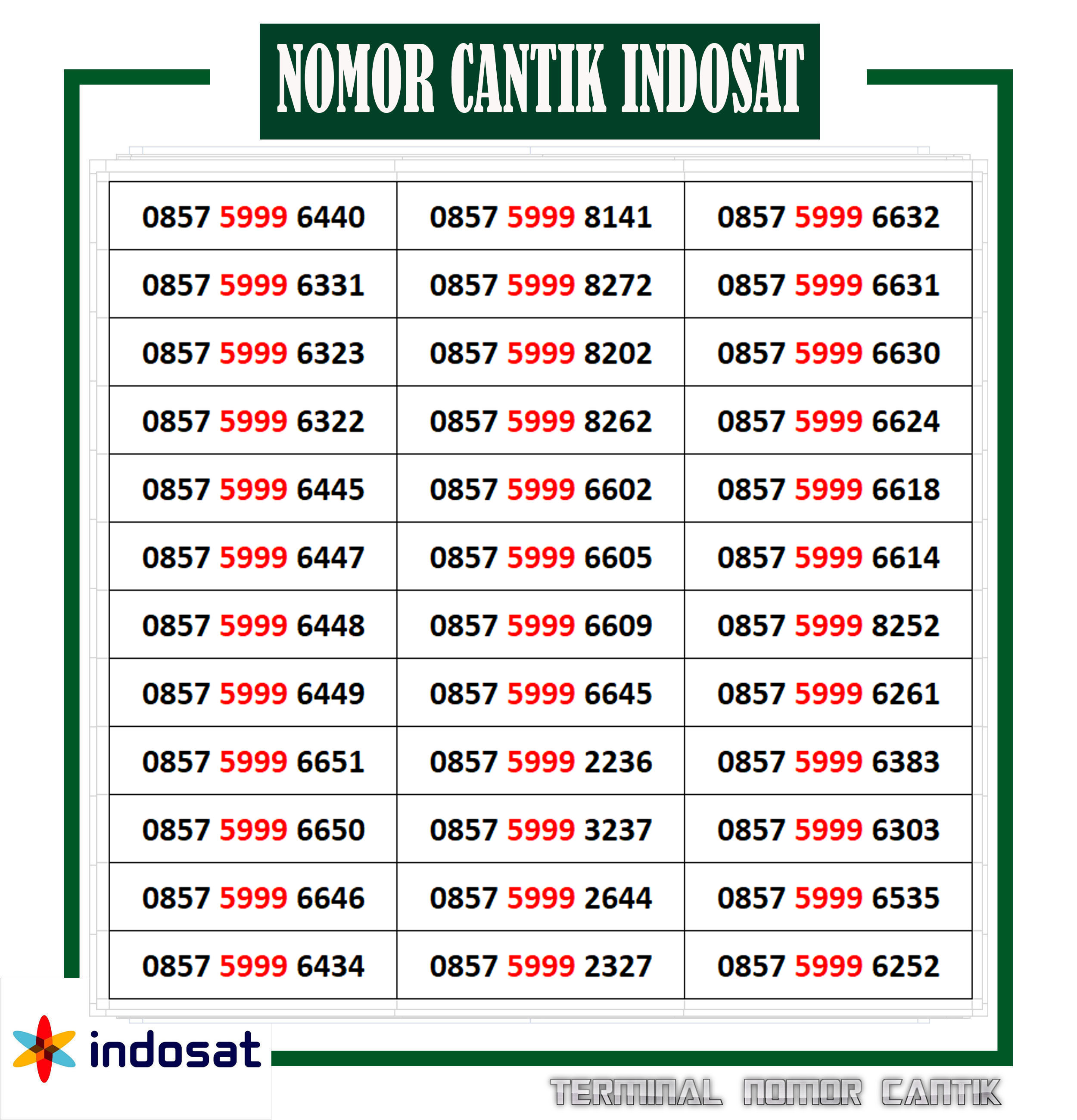 [cod] nomor cantik kartu indosat oreedoo nocan 4g lte  rapih  999