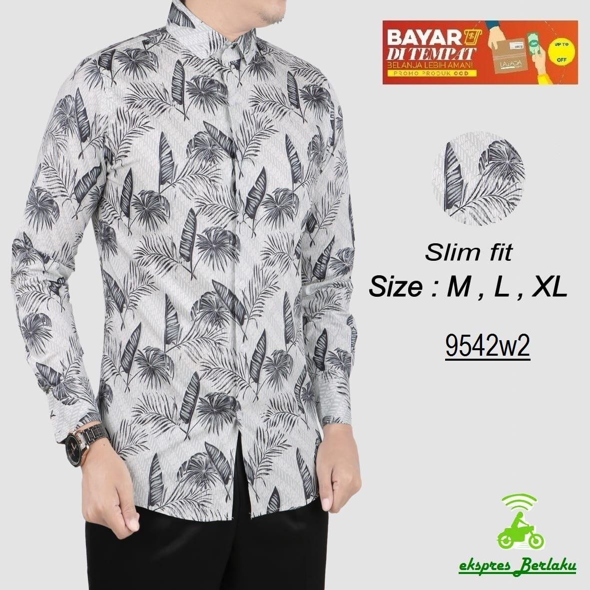 her+man batik pria modern kerah koko kemeja batik pria slim fit 9542w2