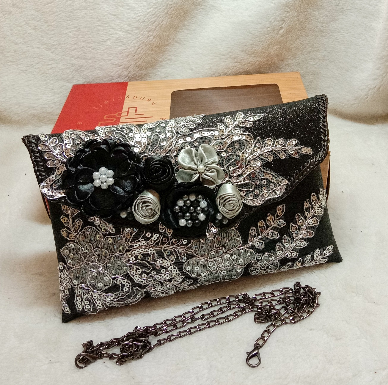 putra sukapura dompet clutch cantik party gliter kombin brokat new
