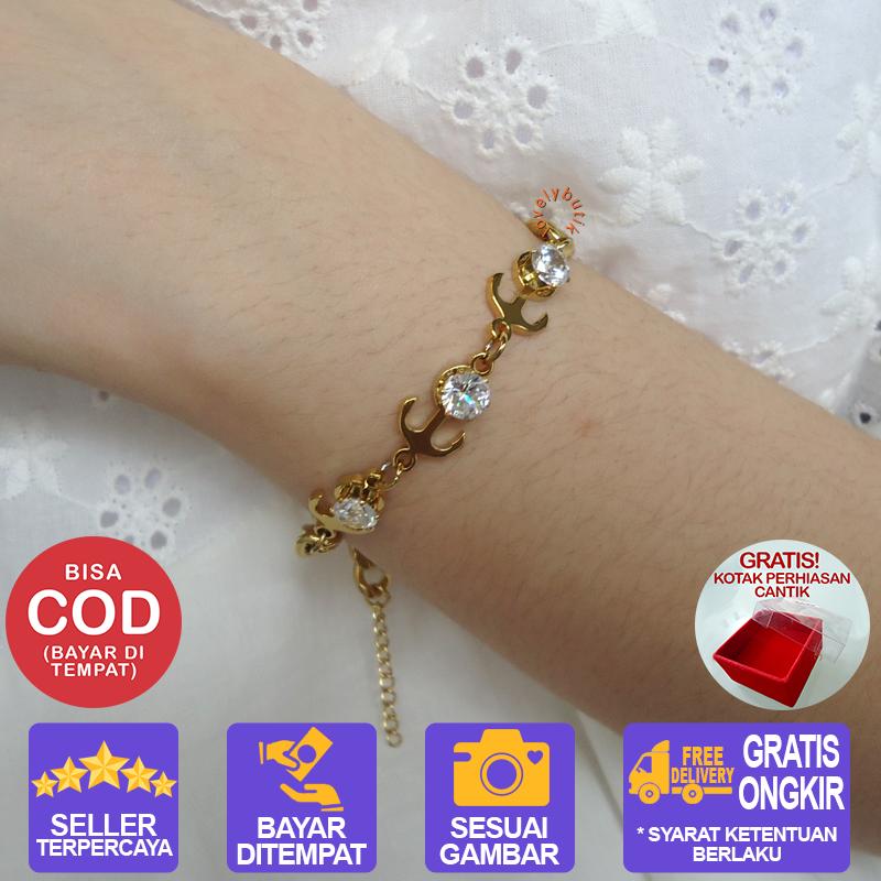 lovelybutik – gelang tangan titanium anti karat riana gelang rantai wanita titanium warna [emas]bonus kotak perhiasan