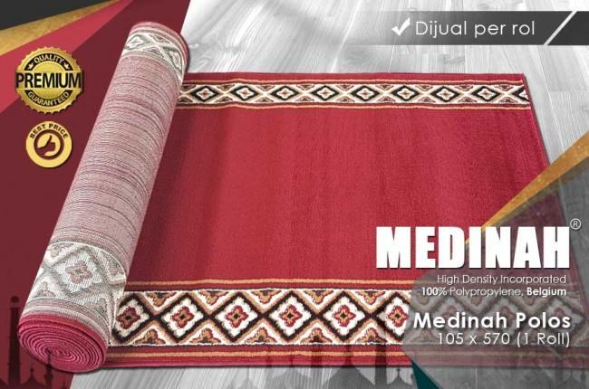 SAJADAH ROLL MEDINAH POLOS MAROON 105X570