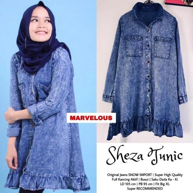 blouse jeans helby ! – tunik jeans busui friendly – atasan wanita  trendy baju muslim wanita