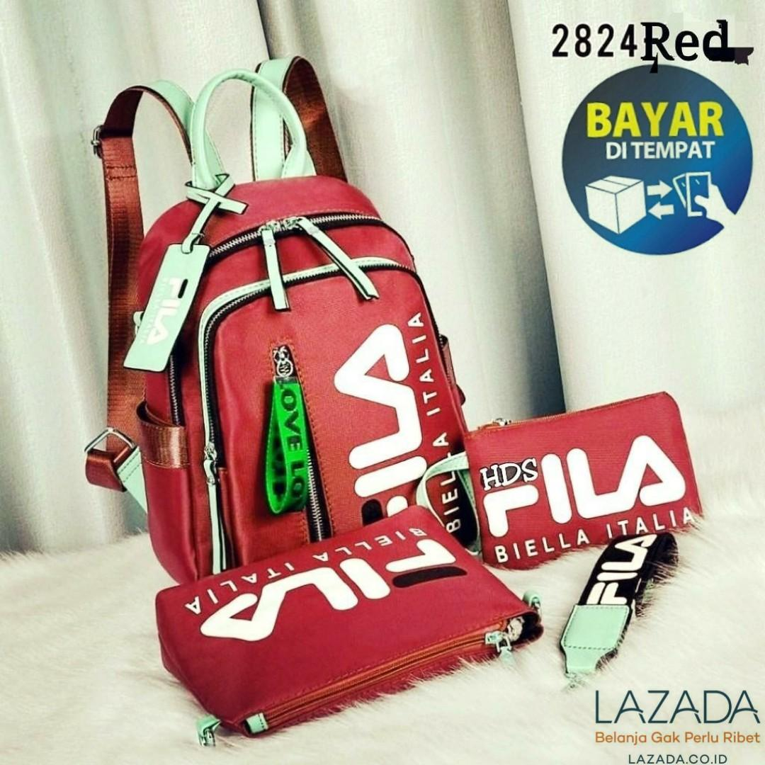 d122ce3f54e MGS_15 TAS RANSEL FILA SET 3in1 CODE 2824 TERMURAH BEST SELLER IMPORT  BACKPACK FASGION