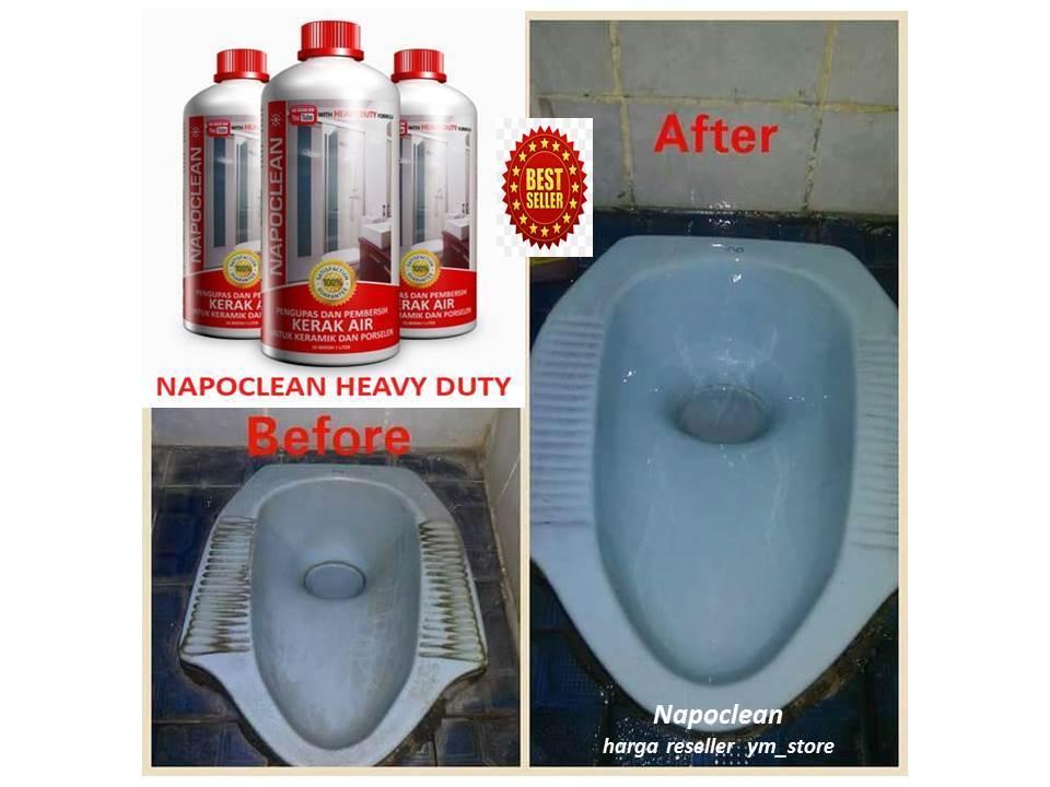 paket napoclean heavy duty & strong pembersih kerak noda pada keramik kamar man& porselen 1 l – 2 pcs ym_store free kuas & sarung tangan