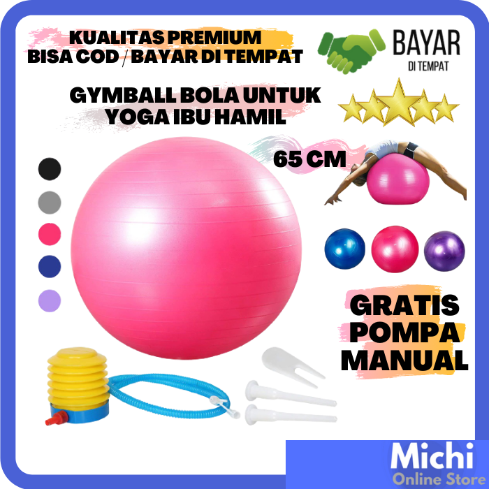 gymball 65 cm gratis pompa angin manual gym ball ibu hamil (bumil) birthing ball bola karet besar fitness