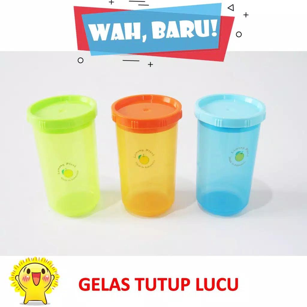 gelas plastik tutup tempat minum souvenir anak