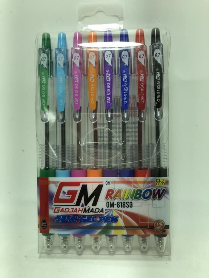 8 pcs pulpen gm818sg 8 warna 0.7mm garansi tinta 2 tahun