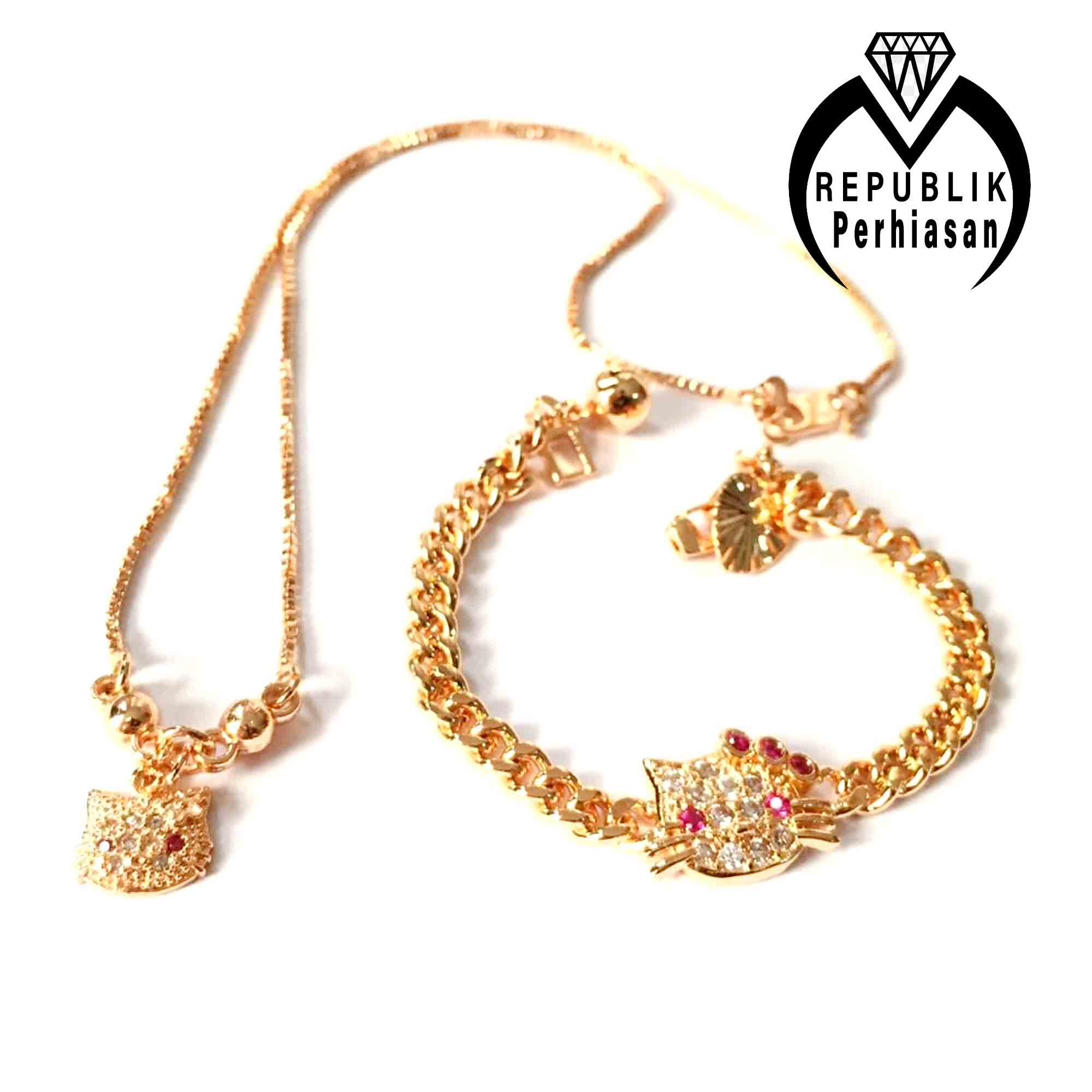 perhiasan set anak hello kitty  xuping cantik lucu kekinian warna gold
