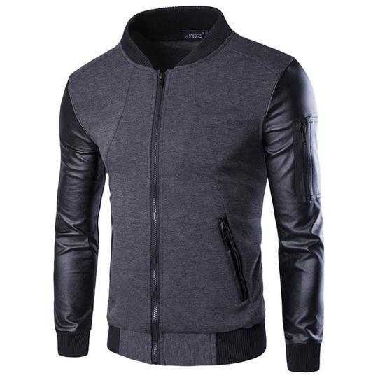 jaket sweter bomber kombinasi black new