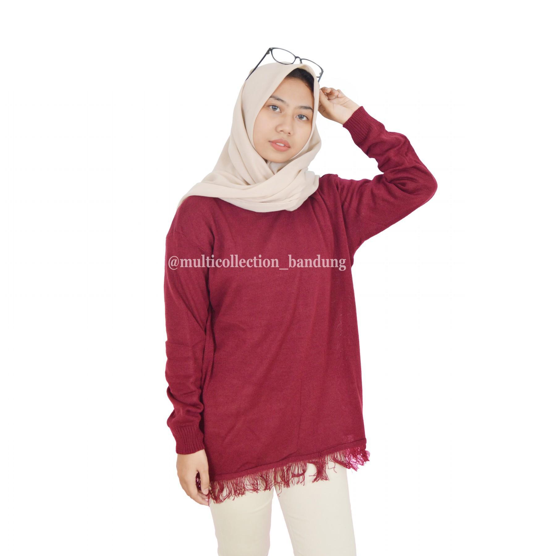 Baju Atasan Wanita - Sweater wanita - RAIDA SLIM Sweater Rajut Rajut Besar Sweater  Rajut Korea 9ae5b2a254