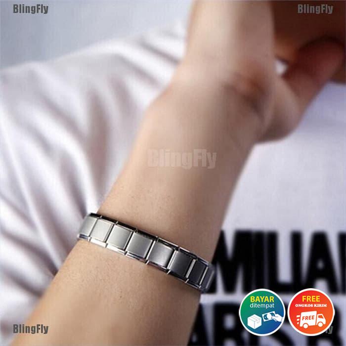 [bayar tempat] gelang pria stainless steel titanium