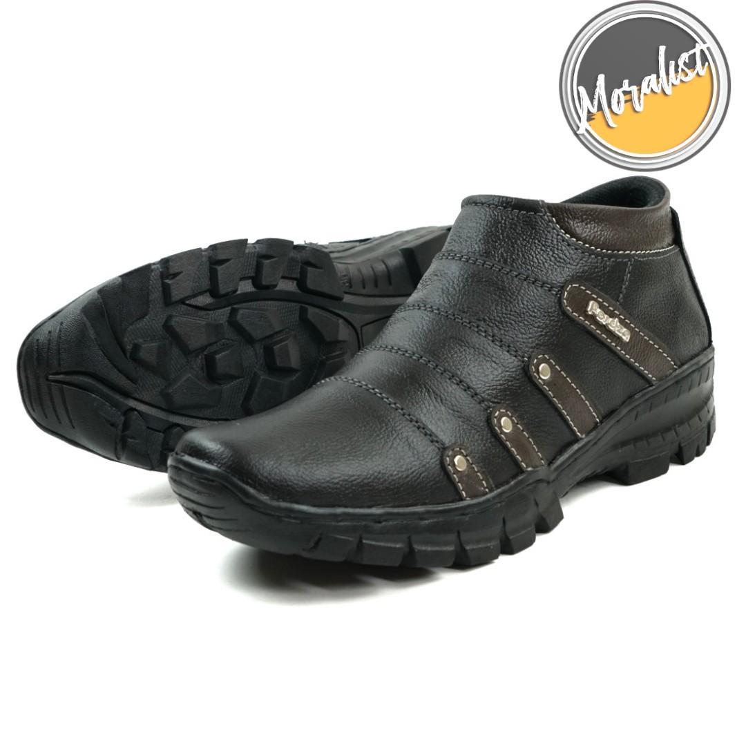 Sepatu Boot Pria Boots Touring Casual Model Zipper Kulit Asli Original Best Quality M.BKS07