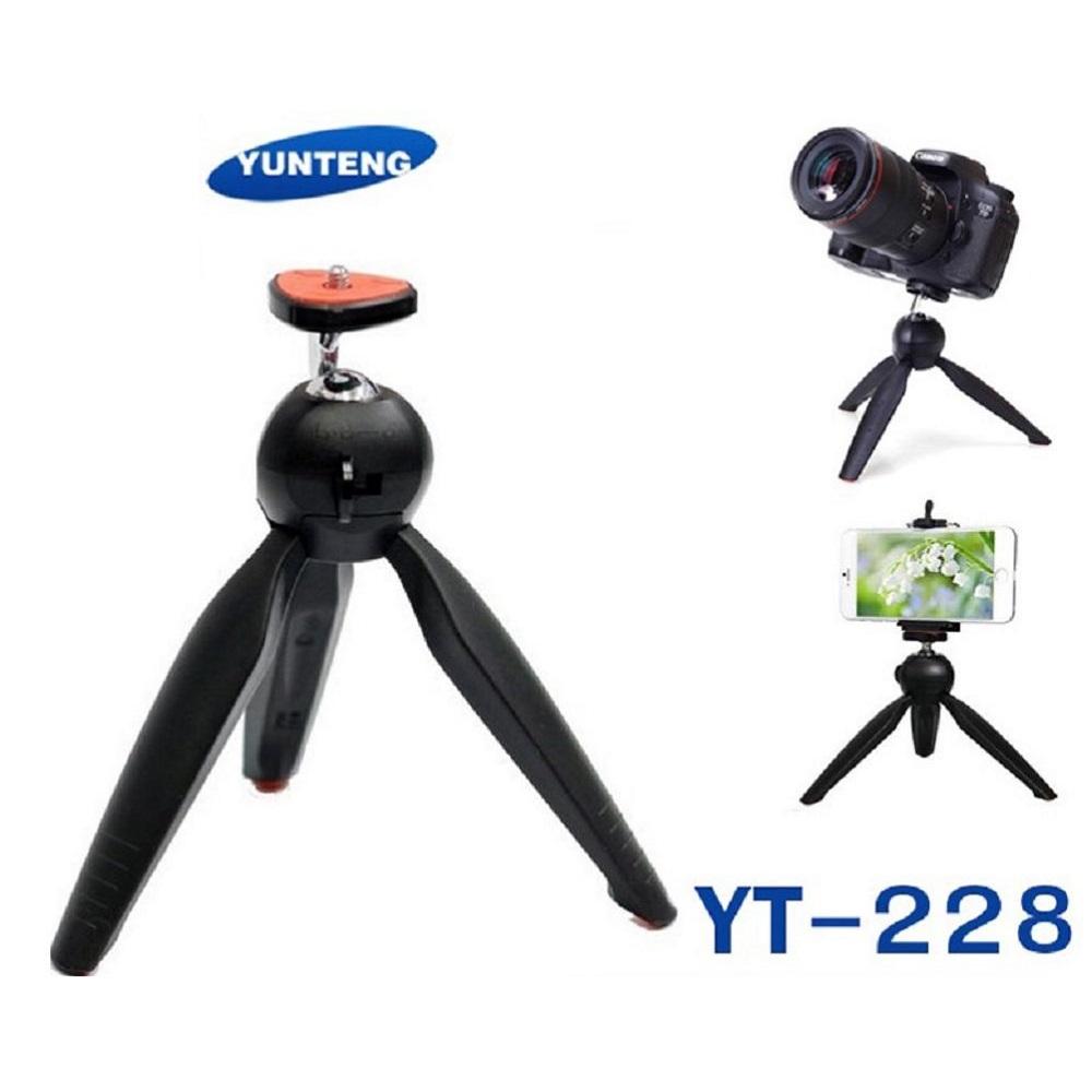 yunteng yt-228 mini tripod mount + phone holder clip desktop self-tripod for digital camera smartphone – hitam